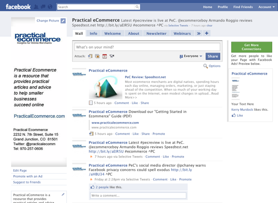 Practical eCommerce's Facebook Fan Page, partial screen capture.