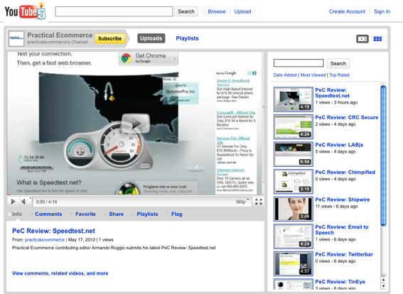 Practical eCommerce's YouTube channel, partial screen capture.