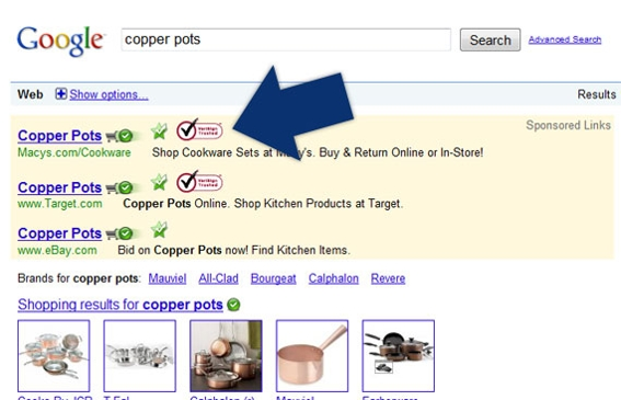 Screenshot of Google search results showing trust marks.