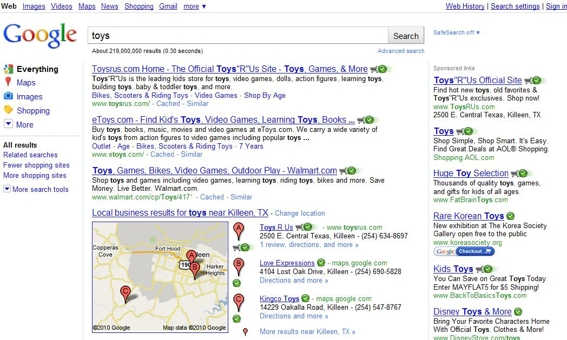 "Google search results for ""toys."""