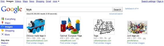 "Image search example for ""toys."""