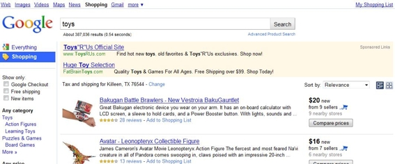 "Shopping search results for ""toys."""
