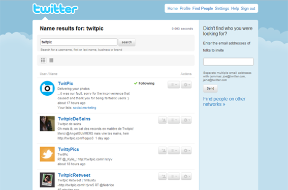 "Results of a search on Twitter for ""TwitPic."""