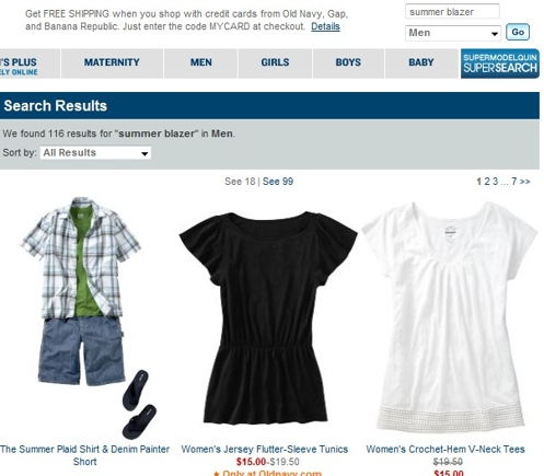 "Search results for ""Summer blazer"" while defaulted to ""Men's"" category."