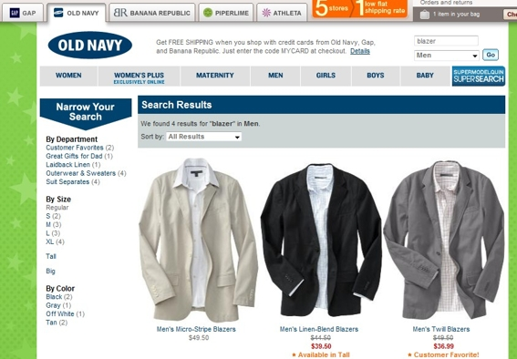 "Search results for generic term ""blazer."""