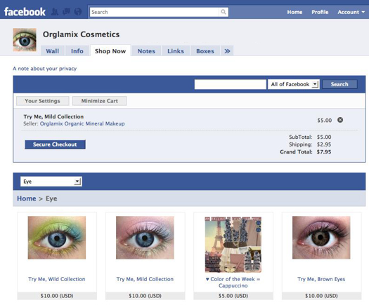 Payvment-powered Facebook storefront for Orglamix Cosmetics.