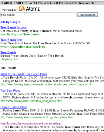 Search results screen capture, How-To-Plans.com