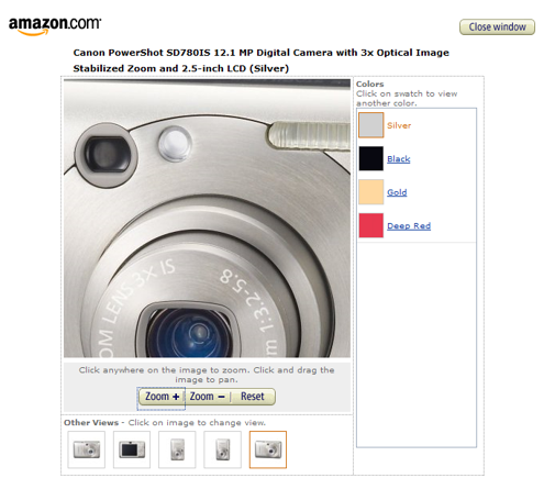 Dynamic image view example, from Amazon.