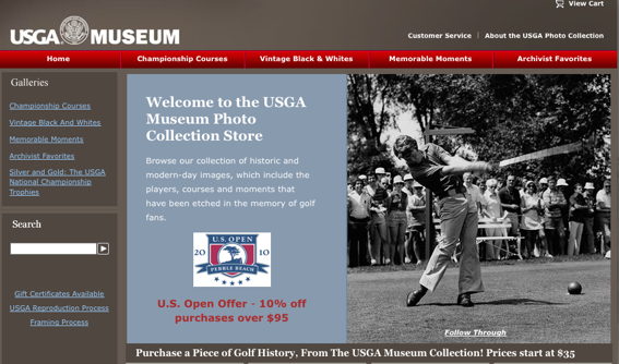 USGA Museum, photo store home page.