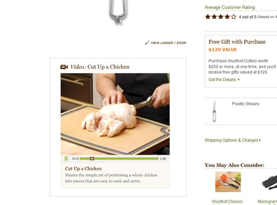 Williams-Sonoma, screen capture linking to video page.