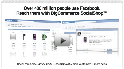 Screenshot of Big Commerce SocialShop announcement.