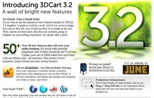 Screenshot of 3DCart SocialCommerce announcement.