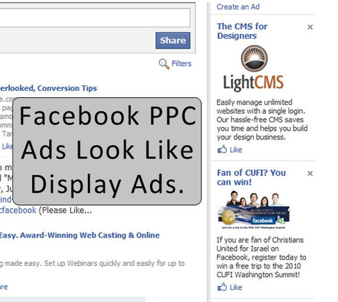 Facebook PPC ads look like display ads.