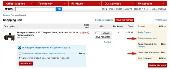 "Screenshot of Office Depot shopping cart showing estimated shipping charges as ""FREE."""