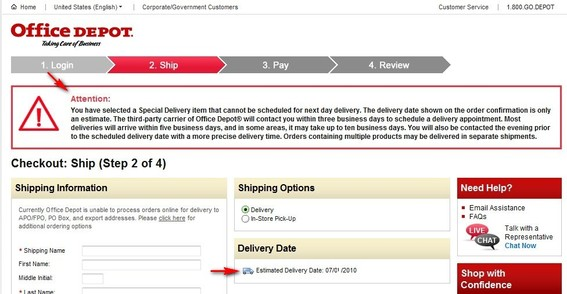 Screenshot of Office Depot checkout process with an alert that says shipping date is only an estimate.