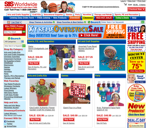 S&S Worldwide home page.