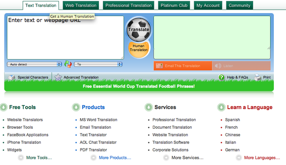 Freetranslations.com, screen capture.