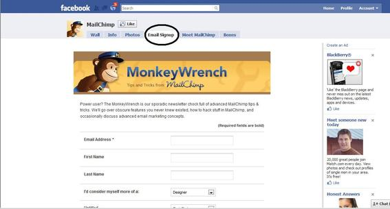 MailChimp's Facebook page highlighting newsletter sign-up.