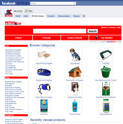 Screenshot of PetCo's Facebook store, powered by Sortprice.com.