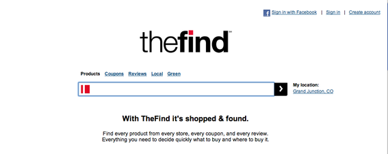 TheFind.com, home page screen capture.
