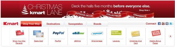 Screen capture from Kmart's home page showing 'Christmas Lane.'