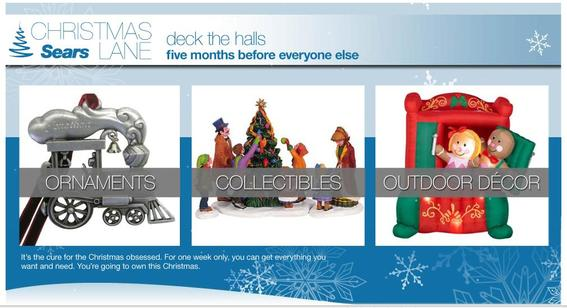 Screen capture showing Christmas ornaments on Sears' website.