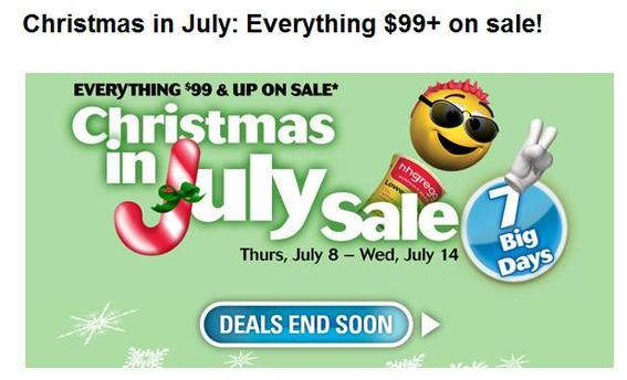 Screen capture showing hhgregg's 'Christmas in July' offer.