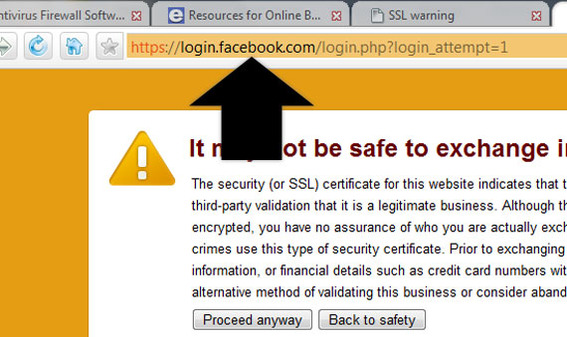 Detail of Comodo Dragon security warning showing Facebook URL.