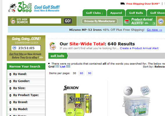 "The 3ball's search generated results in spite of an obvious misspelling, ""gulf"" balls."