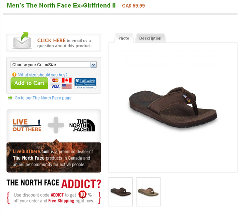 Product page on LiveOutThere.com.