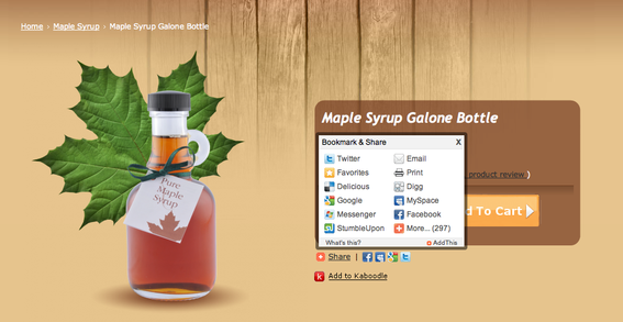 'Add This' pop-up on shopping page for Maple Syrup Galone Bottle.