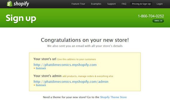 Shopify confirmation sign-up page.