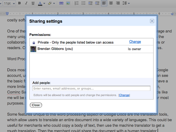 Screen capture of share settings on Google Docs.