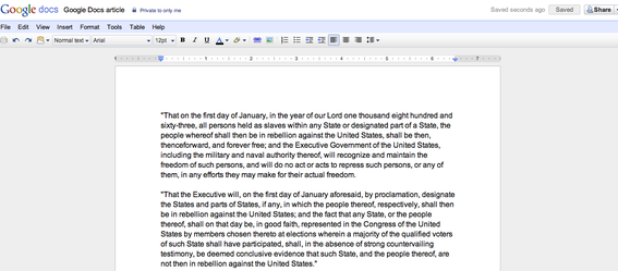 Word processor on Google Docs.