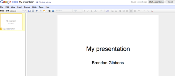 Example of PowerPoint on Google Docs.