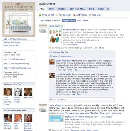 Layla Grayce's Facebook fan page.