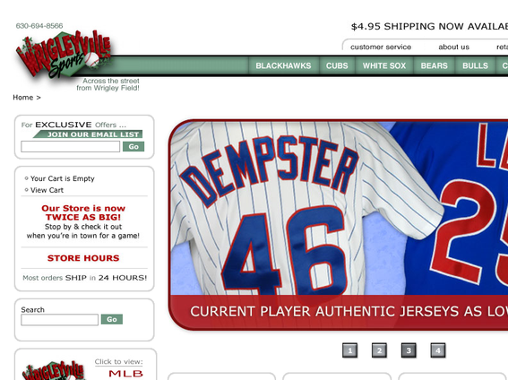 Wrigleyville Sports' home page.
