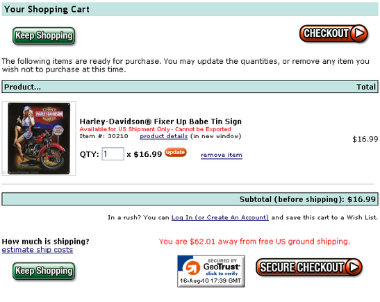 Sample of a 'Keep Shopping' button on checkout page.