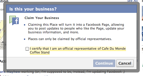 Screen capture of 'Claim Your Business' pop-up on Facebook Places.