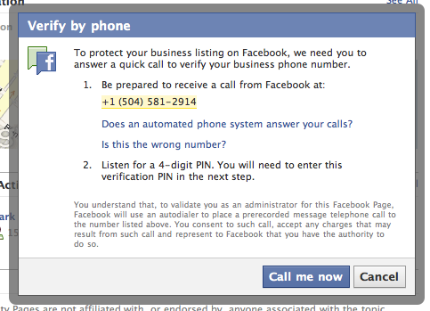 Facebook Places verify by phone.