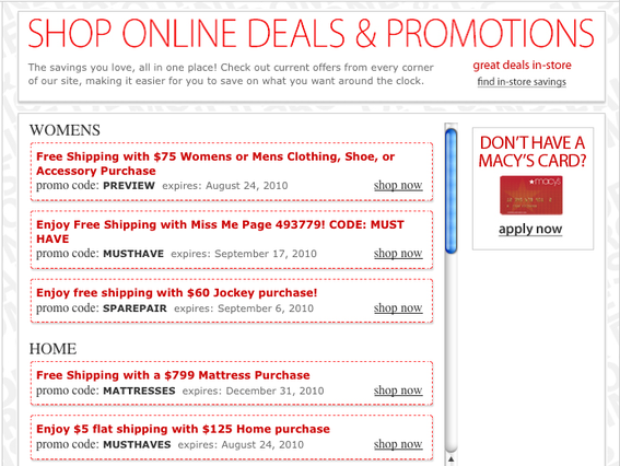 Online deals and promotions on Macy's website.