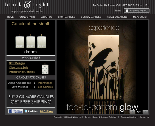 Black & Light home page.