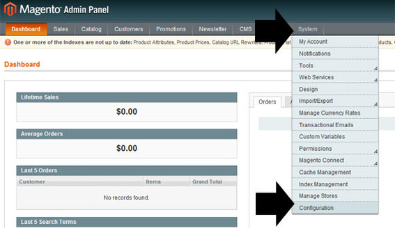 Magento admin panel showing 'System' drop down menu, and 'Configuration' tab.
