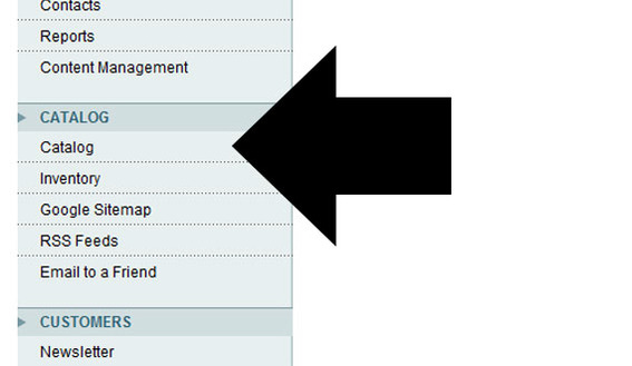 Detail of Magento admin showing 'Catalog' under the Catalog menu.