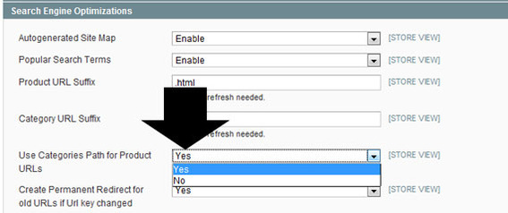 Detail of Magento admin showing where to click 'Use Categories Path for Product URLs' to change it from 'Yes' to 'No.'