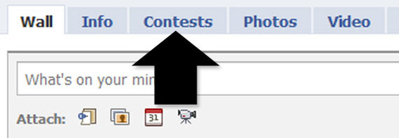 "Wildfire Interactive's ""Contest"" tab on a Facebook Fan page."