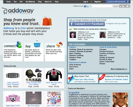 Addoway home page.