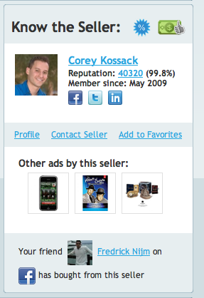 Screenshot of sample seller profile on Addoway.