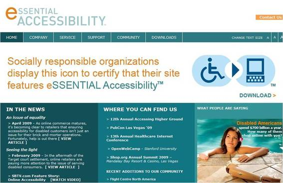 Home page of Essential Accessibility, a software service that makes online environments accessible to persons with disabilities.