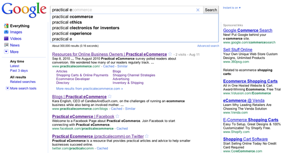 "Instant Search results for ""practical e"", for a Practical eCommerce staff member."